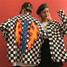 Couples Fame check Printblack white Plaid woman men shirt long sleeve Blouses 2019 fashion Cardigan plus size kimono streetwear