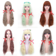 цены Harajuku Lolita Long Wavy Bang Wig Heat Resistant Synthetic Anime Cosplay Light Green Grey Blonde Brown Wigs For Women