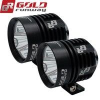 2pcs GOLDRUNWAY Motorcycle LED Headlight Fog Light U3 30W 3000LM Universal Motorcycle Professional Head Light Spot