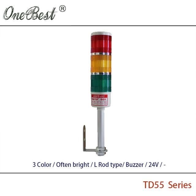 Free shipping HNTD Pilot Lights 24V LED Signal Light 3 Color L Rod type Often Bright  Buzzer TD55 Warning Led Light 12V