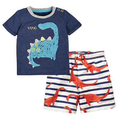 $0.5 Per Ins Boys 2 Sets Kids Clothing 2018 Spring Summer Cartoon Short Sleeve Print Dinosaur T-shirts Shorts Pants 2Sets VL-533