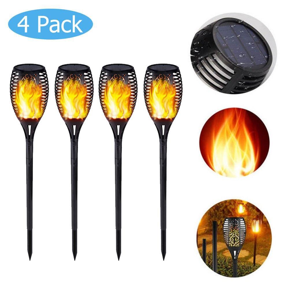 1/2/4pcs 72LED Solar Flame Lamp Flickering Outdoor IP65 Waterproof Landscape Yard Garden Yellow Light Path Lighting Torch Light