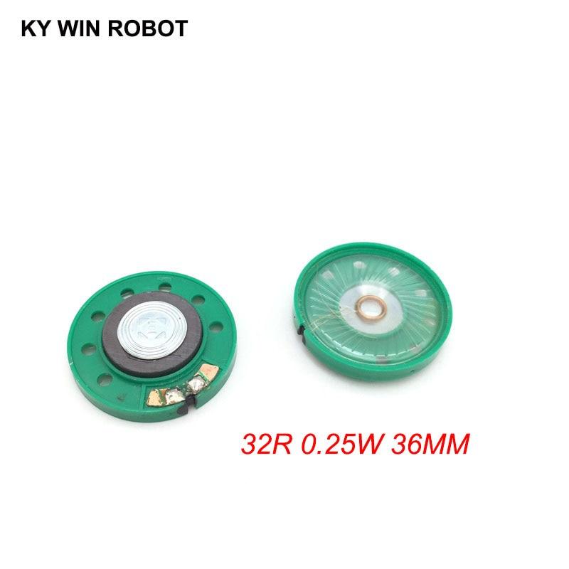 2pcs/lot New Green Ultra-thin Mini Speaker 32 Ohms 0.25 Watt 0.25W 32R Speaker Diameter 36MM 3.6CM Thickness 7MM