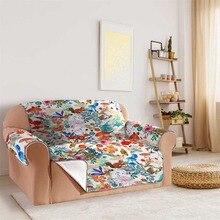 Watercolor animal flower pattern Sofa cushion slip protection Chair Pet Dog Kids Mat Furniture Protector sofa cover elastic