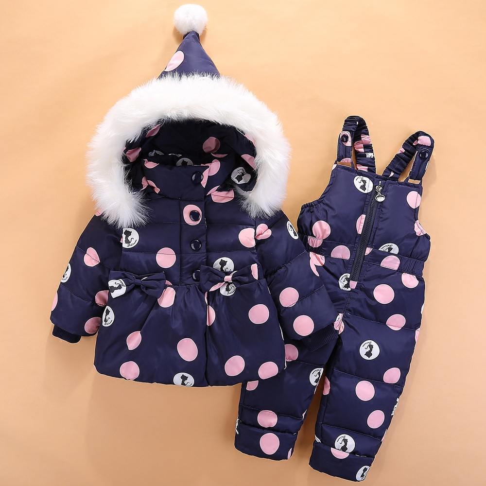 все цены на 0-4 Years Children Winter Suits for Girls Skiing Suit 2pcs Bowknot Warm Down Jacket+Thick Jumpsuit Polka Dot Kids Clothes Z302