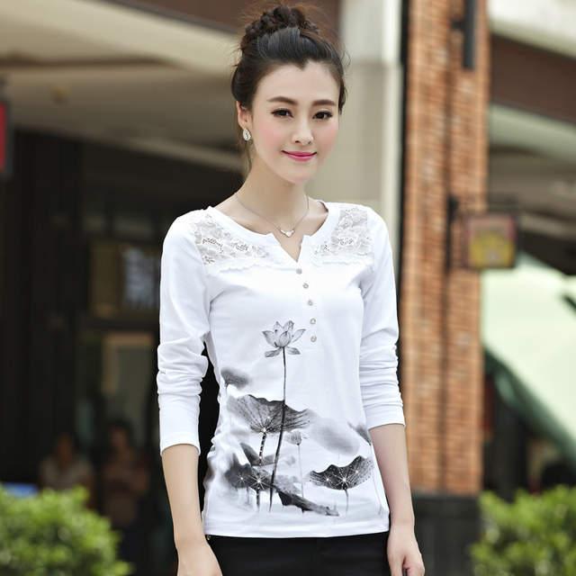 cbfb5d17aa placeholder Shintimes Poleras Mujer 2018 Korean Long Sleeve Shirt Women  Vintage T Shirt Tee Shirt Femme Cotton