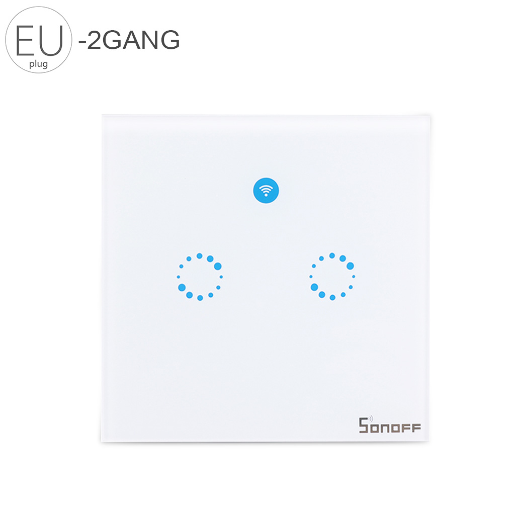 Sonoff T1 EU Smart Switch Remote Control Light Switch Wall Panel 1/2 Gang Wireless Smart Touch ON/OFF Plate Work With Alexa/Nest ewelink us type 2 gang wall light smart switch touch control panel wifi remote control via smart phone work with alexa ewelink
