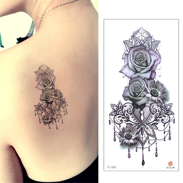 beauty 1piece make up Fake temporary tattoos stickers rose flowers ...
