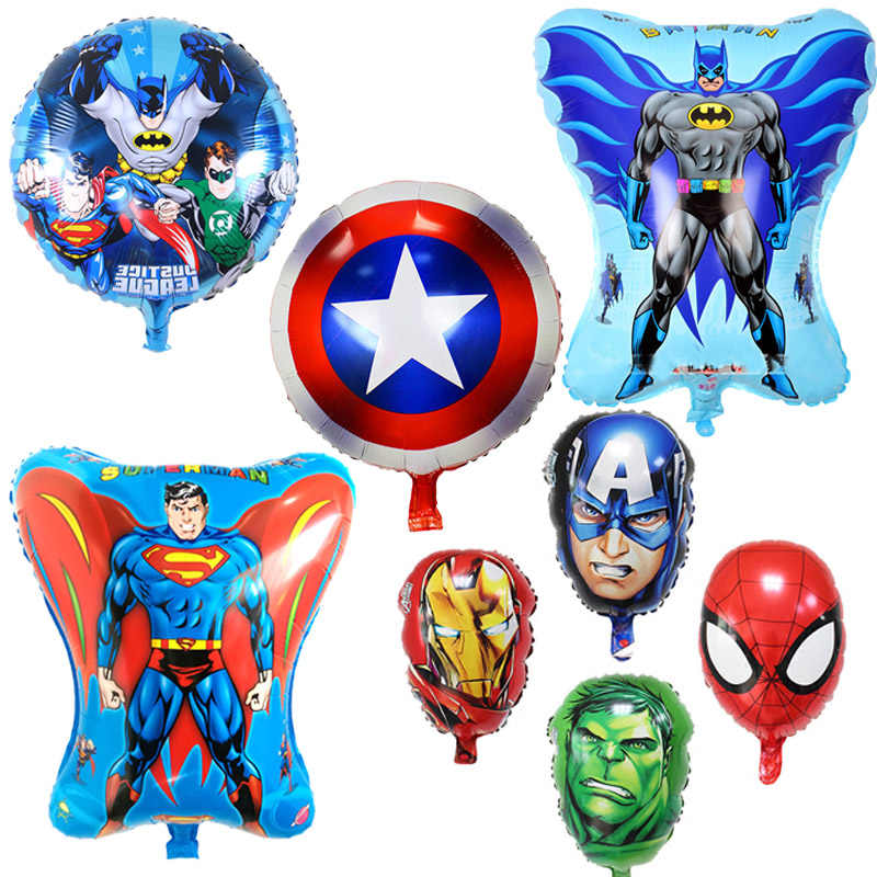 1pcs Super Hero Balloons spiderman Hulk Avengers Batman Foil Balloon Children Birthday Party Supplies Baby Toys Supplies