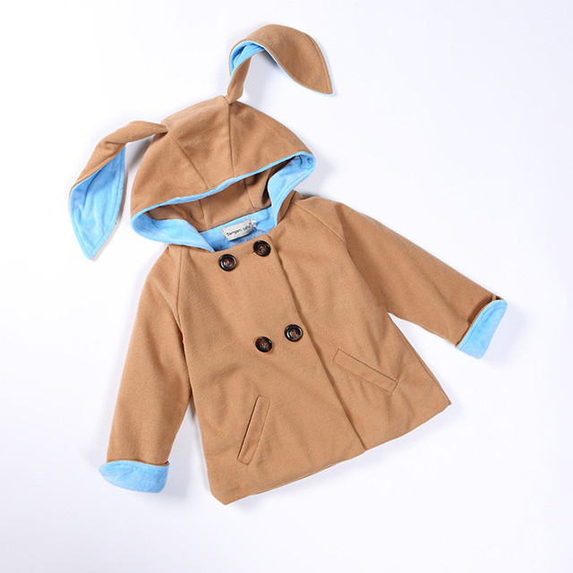 Hooded Jacket for Girls Autumn Winter Cute Bunny Woolen Coat for Girl 2016 Baby Girls Coat Children Clothes