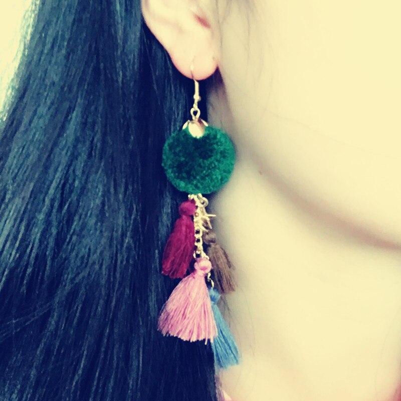 Dongmu  Color women's long tassel earrings ladies fashion party long earrings Bohemian pom jewelry mother gift