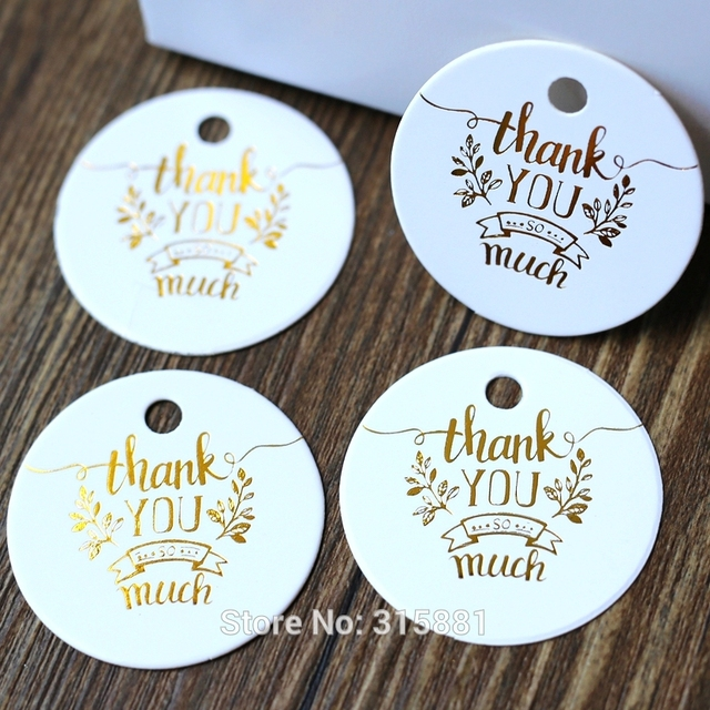 Golden Thank You so much Tag, Gift Tags, Wedding Thank You Tags