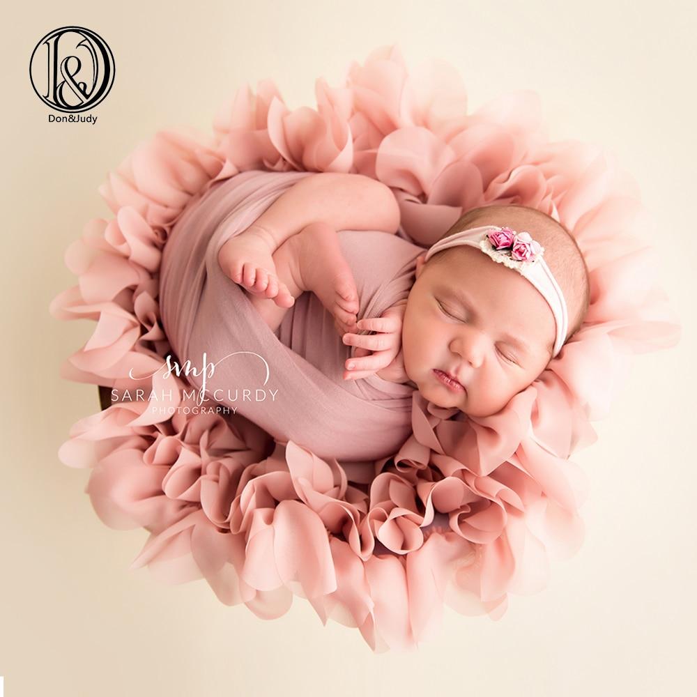 Blossom Mjukt Chiffong Nyfött Filt Stuffer Korg Filler Bakgrundsbild Props Baby Photo Props Nyfött Session Mat Fotografia
