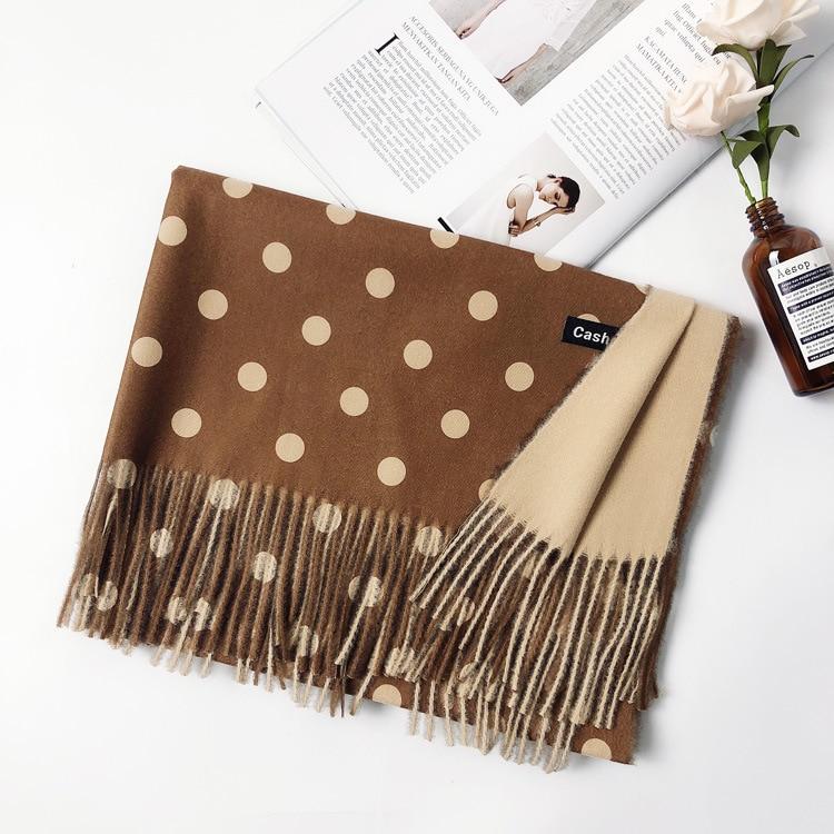 Fashion Autumn Winter Warm Cashmere Scarves Dot Pattern High Quality Long Tassels Women Thicken Wrap Shawl Ladies Wool Pashmina