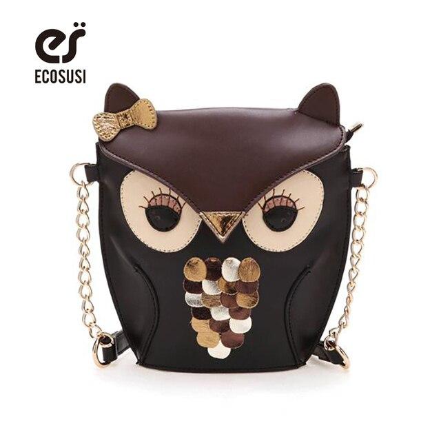 ECOSUSI New Fashion Women Leather Handbags Cartoon Bag Owl Fox Shoulder Bags Women Messenger Bags Wallte Cute Candy Colors Bolsa