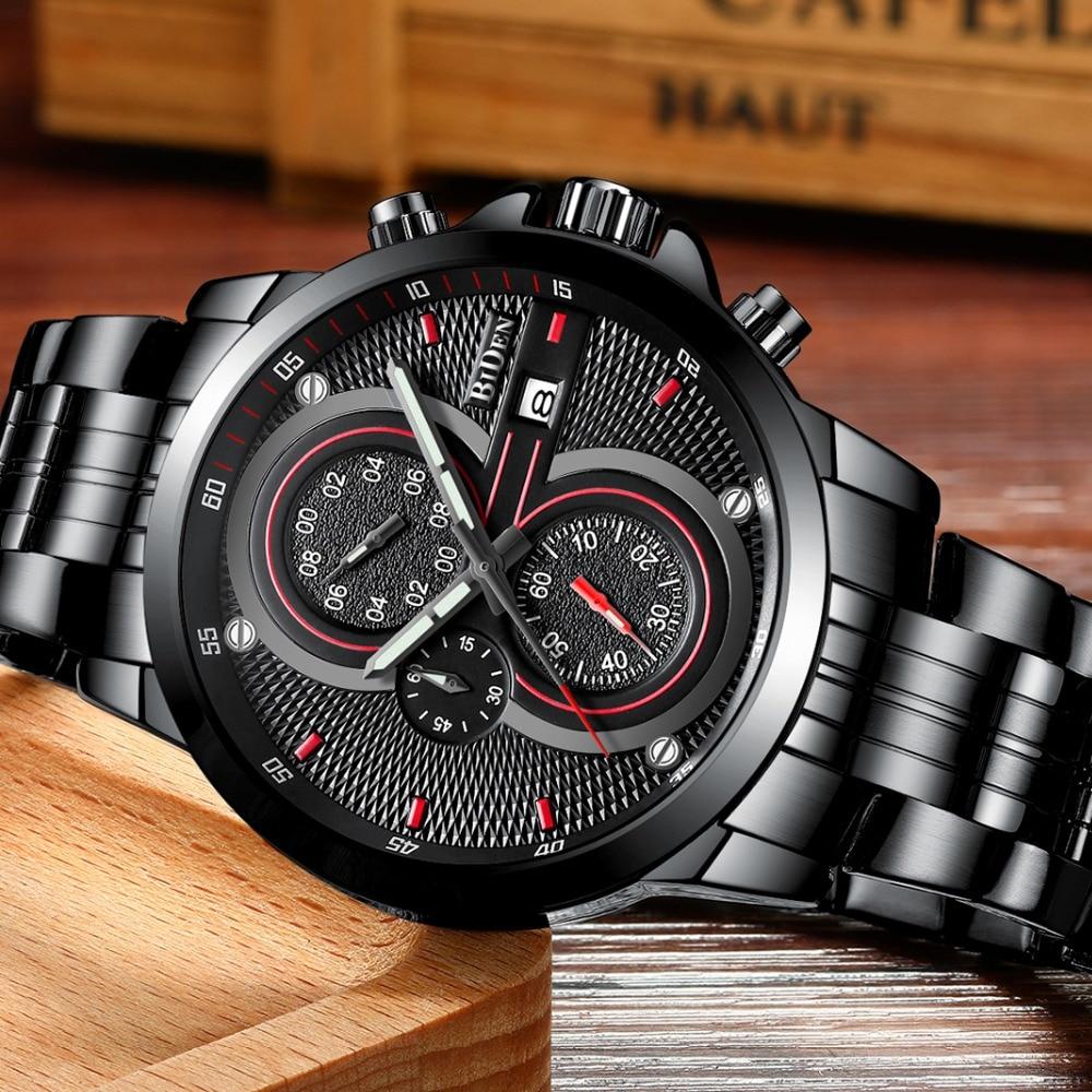 Man Watch BIDEN Top Brand Luxury Steel Strap Business Quartz Watch Military Army Waterproof Sports Watch men relogio masculino