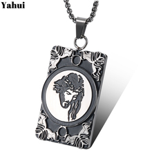 YaHui stainless steel Carved couple necklaces & pendants titanium mens necklace for women jewelry bohemian