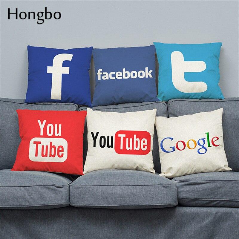Hongbo Cushions Cover Facebook YouTube Skype Media Logo Cushions Cover Linen Cushions Cover 45x45cm