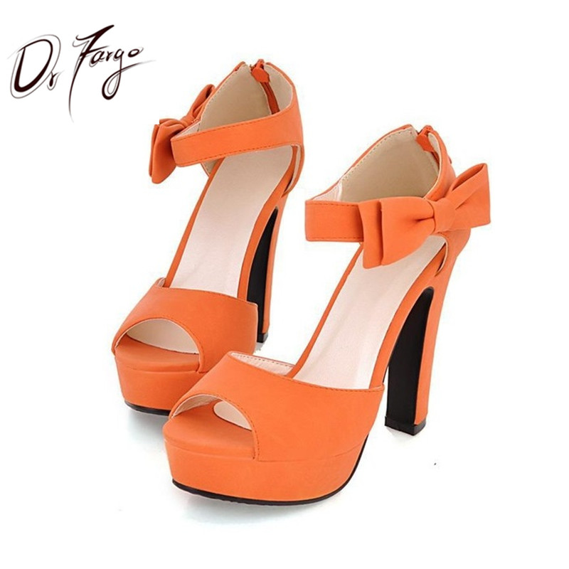 DRFARGO Butterfly Knot Bow Pump New Summer Peep Toe Ankle Strap Orange Sweet Thick High Heel Sandals Platform Lady Women Shoes