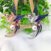 Freshwater Pearl Brooch Wholesale Brass Copper Bronze With Pearl Bird Plating With Rhinestone More Colors For