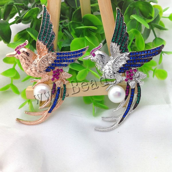 Freshwater Pearl Brooch Wholesale brass copper bronze with pearl Bird plating with rhinestone more colors for choice delicate rhinestone blue resin retro bird brooch for women