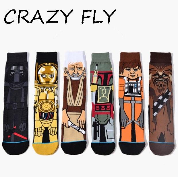 CRAZY FLY Hot Movie Star Wars   Socks   Adult Men Crew   Socks   Women   socks   Jedi Vader Yoda Cosplay Cotton Funny Long Happy   Sock   New