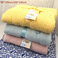 New 100% Cotton Baby Blanket Knitted Breathable Props Kids Crib Casual Sleeping Hole Wrap Blankets Baby Stroller/Car Swaddling