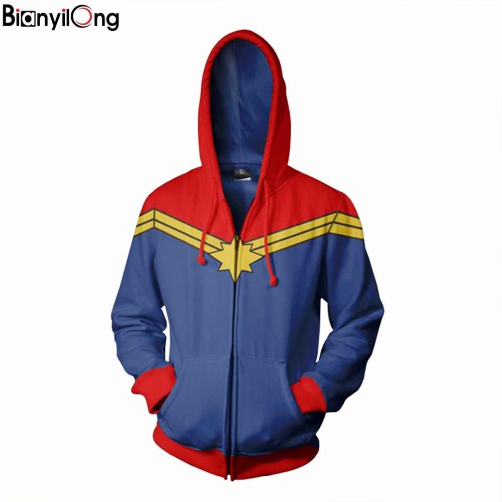 bianyilong 2018 men hooded classic captain marvel 3d printed hoodies casual  tracksuit casual zipper hoodie hooded hip hop tops