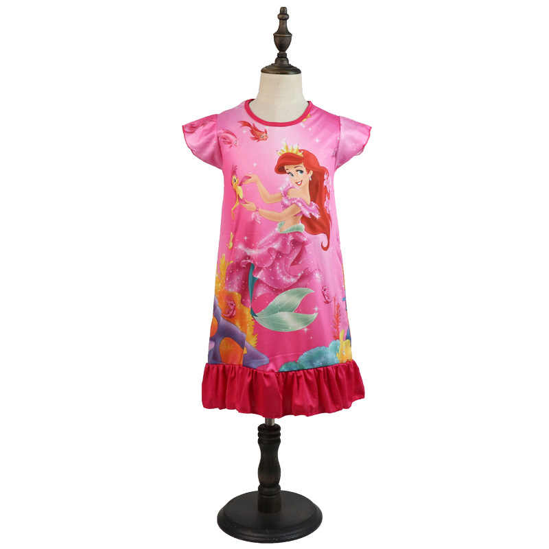 Princesse été robe de nuit enfants maison vêtements pyjama sirène bébé dessin animé neige blanc chemise de nuit fille vêtements de nuit robe