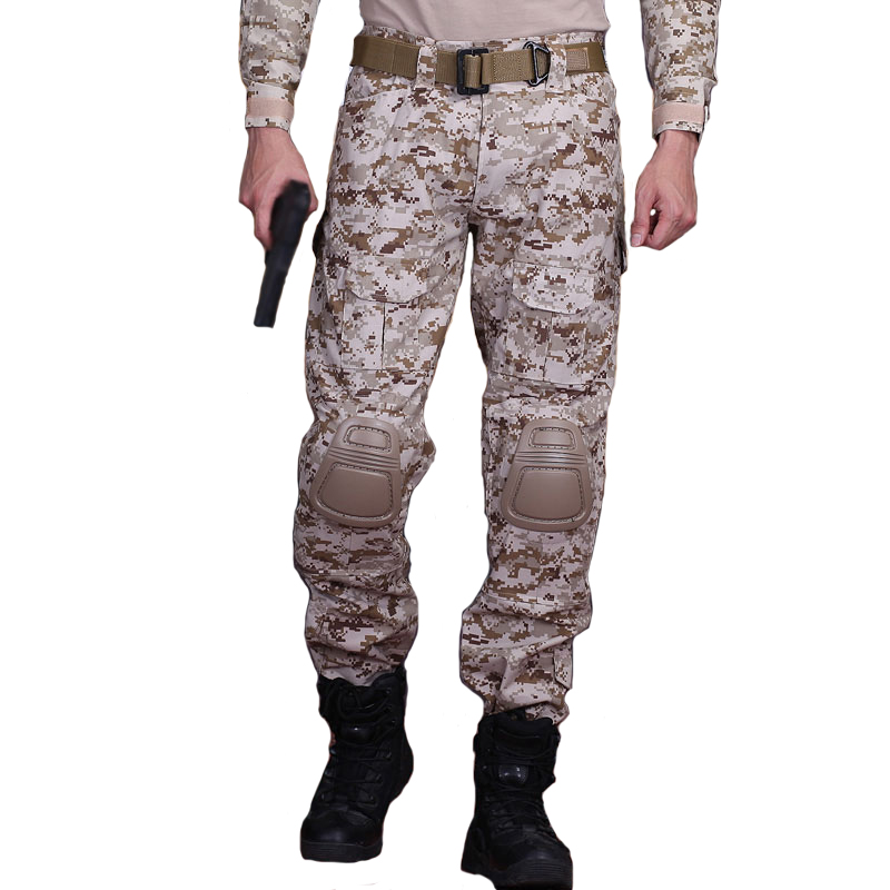 Tactical Camo Pants Men Military Pants Army Airsoft Paintball Combat Camouflage Hunter Black Cargo Trousers Work Knee Pads(China)