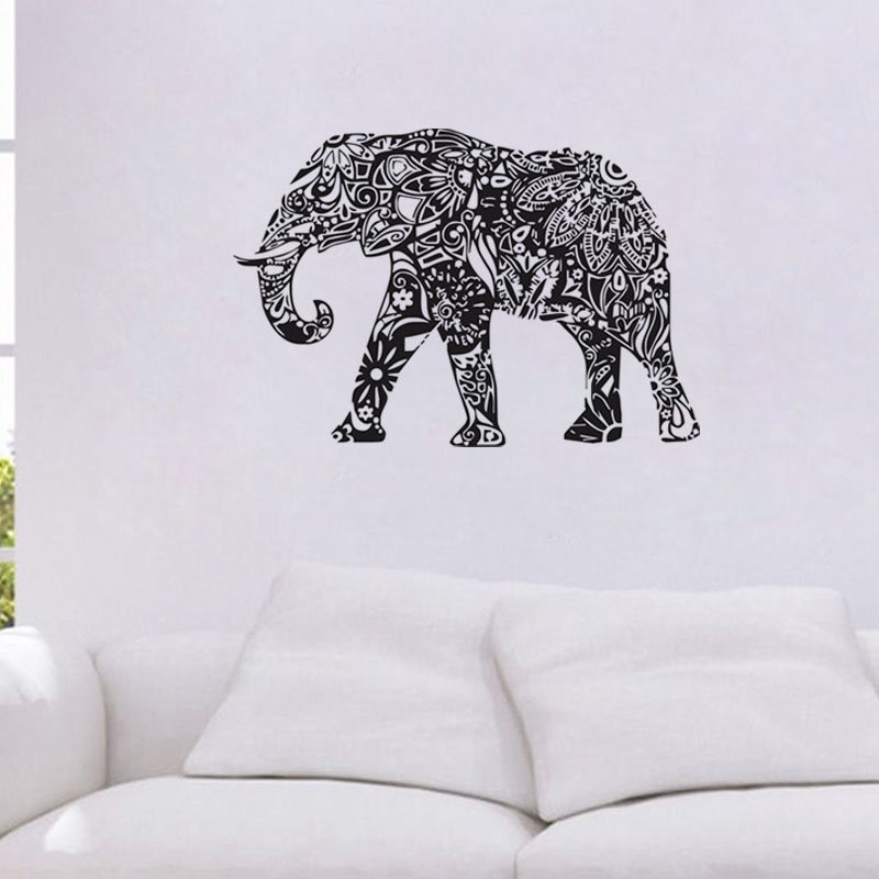 Indian Elephant Wall Sticker Bedroom Vinyl Art Home Decor Waterproof Mandala Pattern Design