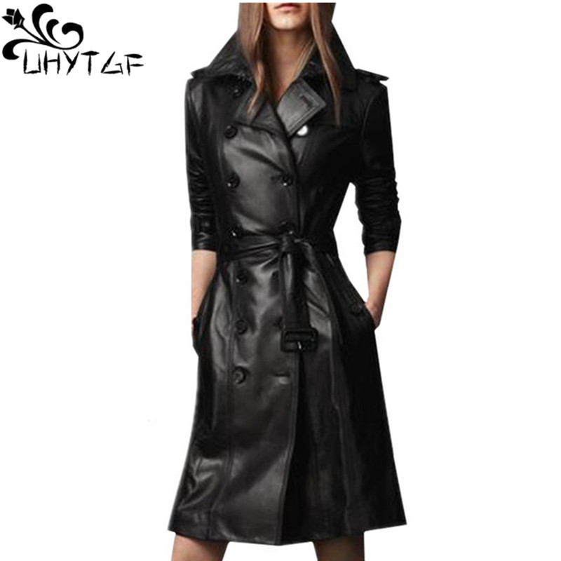 UHYTGF Autumn Winter Coats Womens Imitation   leather   clothing Plus size Long section Double-breasted Windbreaker   Leather   Coats 95