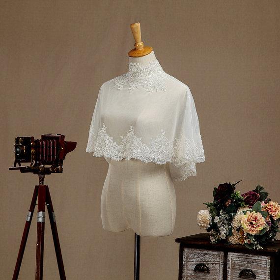 Alta qualidade Branco 2017 Tulle com Apliques Tanque Nupcial Wedding Bolero Jacket Casamento Do Laço Shrug Cape Shawl