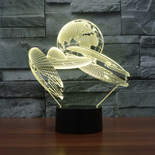 3D led Spaceship Space Fighter 7 Colorful Gradients LED Acrylic Plate Desk Lamp Bedroom Decoration Night Light