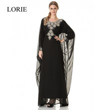 Phantasie Schwarz Chiffon Muslimischen Abendkleid 2017 Neue Stil Kristalle Perlen Türkische Langarm Prom Kleider Kaftan Abaya In Dubai