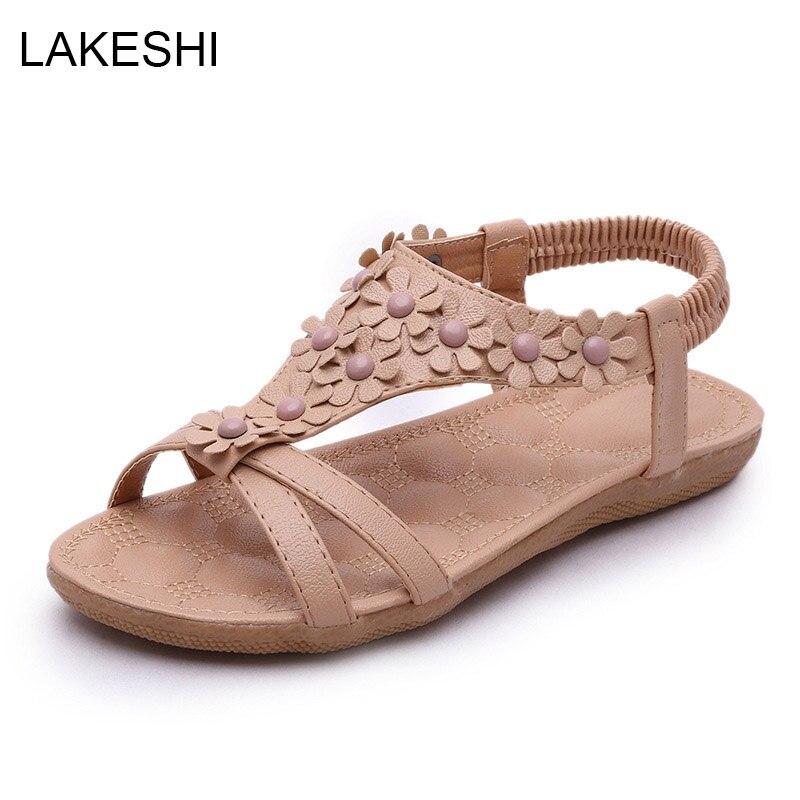 LAKESHI Summer Women Sandals 2017 Fashion Bohemia Women's Shoes Flower Sandalias Casual Shoes