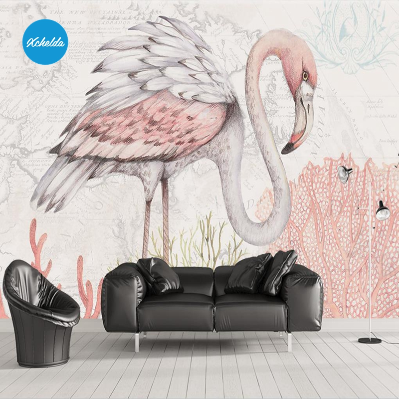 XCHELDA 3D Mural Wallpapers Custom Painting Creative Flamingo Design Background Bedroom Living Room Wall Murals Papel De Parede custom 3d wall murals wallpaper luxury silk diamond home decoration wall art mural painting living room bedroom papel de parede