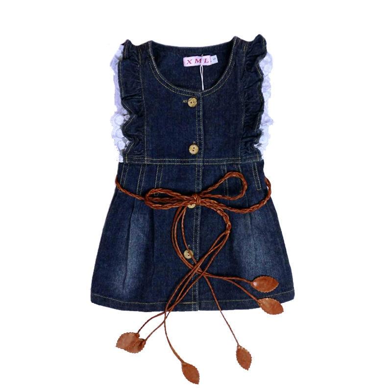 Girls Blue Sleeveless Denim Dresses Kids Girls O Neck Sundress With Belt Children S Party Festival