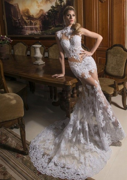 2014 Free Shipping New Fashionable Romantic Sexy Tulle Vestido de noiva Mermaid Lace Wedding Dress Bridal Gown Custom Made Size in Wedding Dresses from Weddings Events