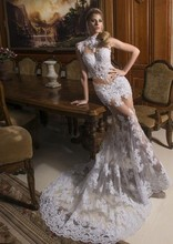 2014 Free Shipping New Fashionable Romantic Sexy Tulle Vestido de noiva Mermaid Lace Wedding Dress Bridal Gown Custom Made Size