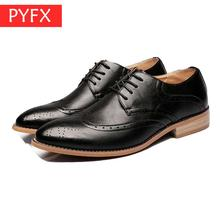 new 2019 summer Italian hand sewing cowhide British style pointed casual business brown mens Bullock dress shoes breathable