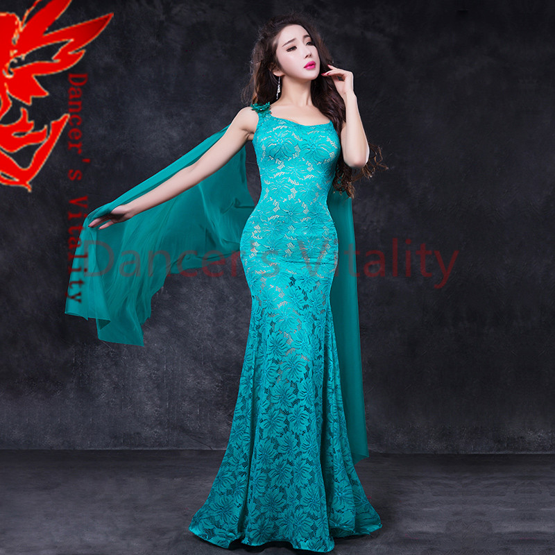 NEW Women Belly Dance Lace Dress Lady Belly Dance Elegant Dress M/L Dancer's Fashion Clothes Dress Girls Belly Dance Clothing