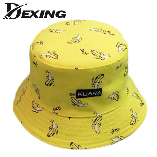 Dexing   Yellow banana Panama sad boy bucket hat black street Bucket Hats  men Hip Hop skateboard cotton letter Fashion Bob Caps 0b5e4bdf35c