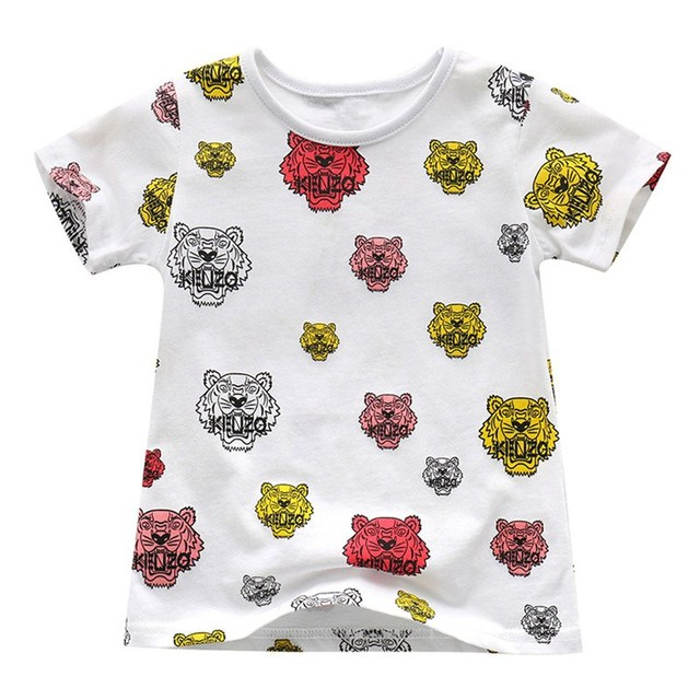 Hot selling baby boys girls novelty cartoon t shirts kids short sleeves summer t shirt with printed some tiger heads top quality