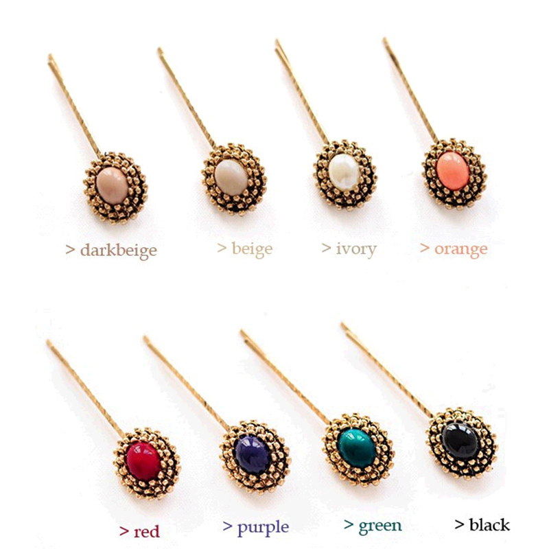 Bohemia Style Vintage Colorful Ellipse Triangular Cone Boho Stone Hair Pins and Clips Accessories Women Hair