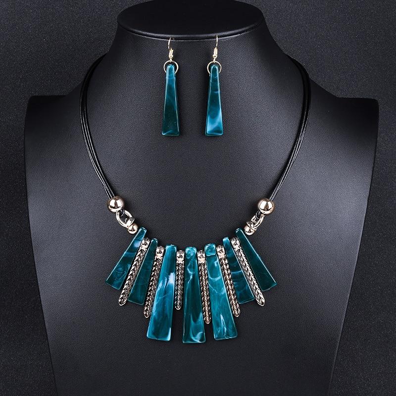 Guvivi 2019 Luxury Choker Jewelry Sets Drop Tassel Statement Maxi Necklace Earrings For Women Colar Vintage Wedding Jewelry