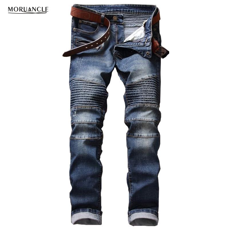 ФОТО Brand Designer Mens Motorcycle Jeans Pants Fashion Pleated Biker Denim Joggers Multi Zipper Slim Fit Moto Jean Trousers Straight