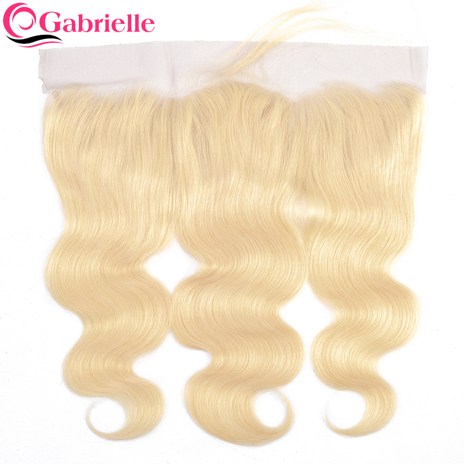 Gabrielle Blonde Hair Color 613 Brazilian Body Wave Lace Frontal Closure 13x4 Remy Human Hair Extensions Free Shipping
