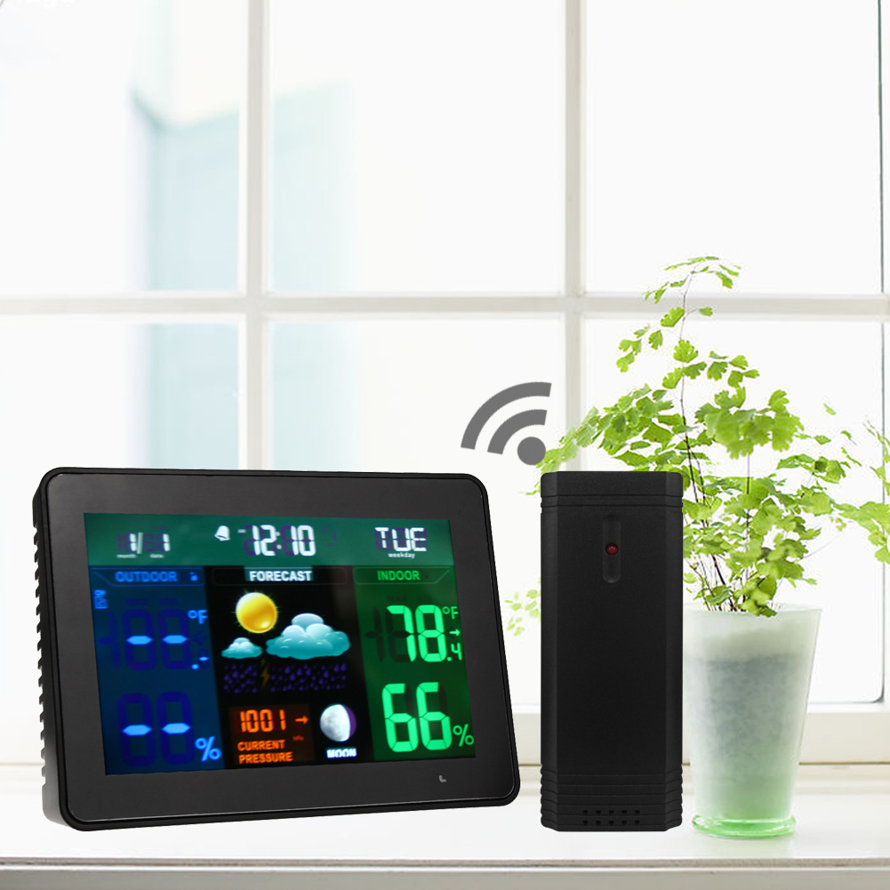 Standing Wireless LED Weather Station In/Outdoor Weather Forecasting Temperature Humidity Thermometer Alarm&Snooze Function