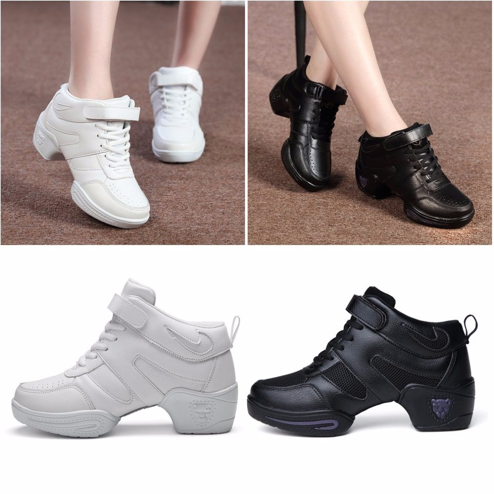 Cow Leather/Mesh Net Women Gym Fitness Sport Shoes Female Jazz Dance Shoes Jogging Shoes Solid Color Black/White